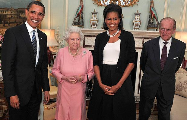 The Queen Elizabeth IIand Prince Philip meet Barack and Michelle Obama at Buckingham Palace