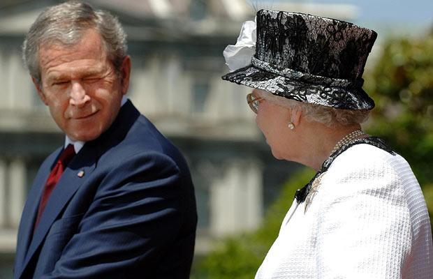 George W Bush winks as he and the Queen deliver speeches at the White House