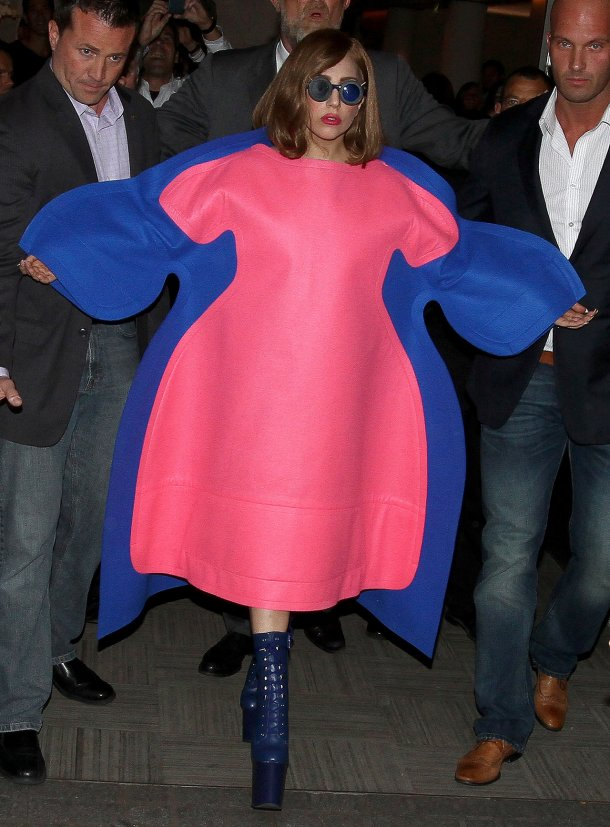 Lady Gaga being whisked away in this puffy Comme Des Garcons.