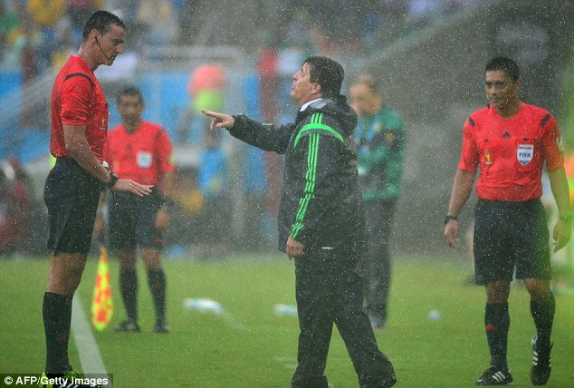 Mexico's coach Miguel Herrera (right) was right to feel aggrieved with several first half decisions