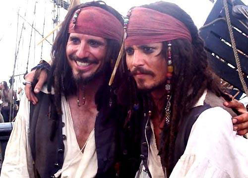Johnny Depp in the Pirates of the Carribbean