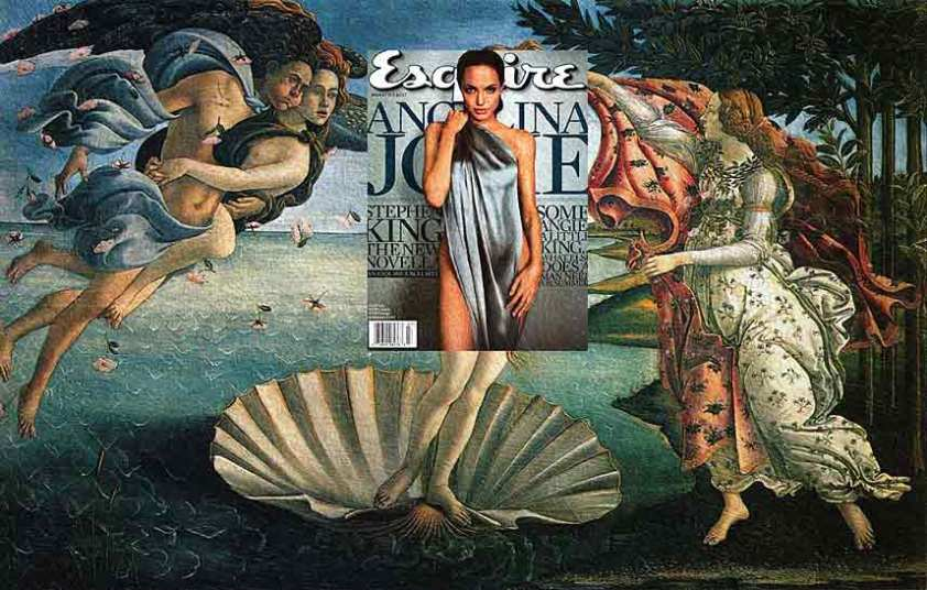 Angelina Jolie, Esquire July 2007 and The Birth of Venus by Sandro Botticelli