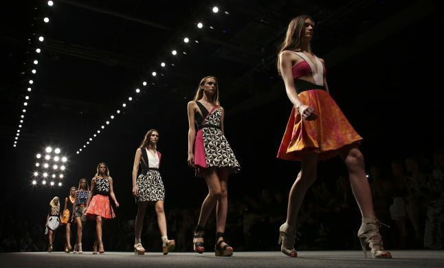 Models parade at the end of Byblos Spring/Summer 2015 collection during Milan