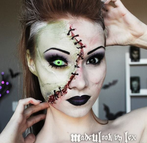 creative-halloween-make-up-ideas-15 Two-faced Girl