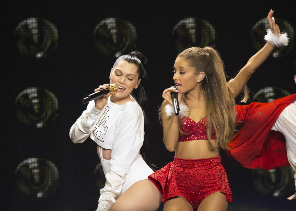 Singers Grande and J perform during KIIS FM's Jingle Ball 2014 at Staples Center in Los Angeles
