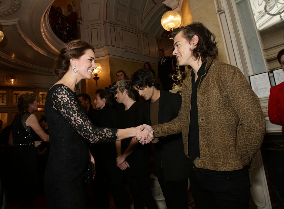 Catherine, the Duchess of Cambridge, meets boy band One Direction in London