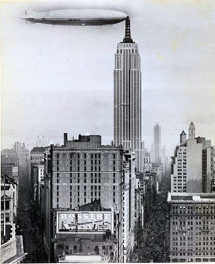 Dirigible Docked on Empire State Building (1930)