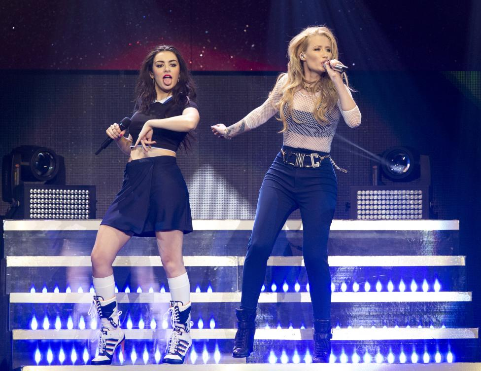 Recording artists Azalea and Charli XCX perform during KIIS FM's Jingle Ball 2014 at Staples Center in Los Angeles