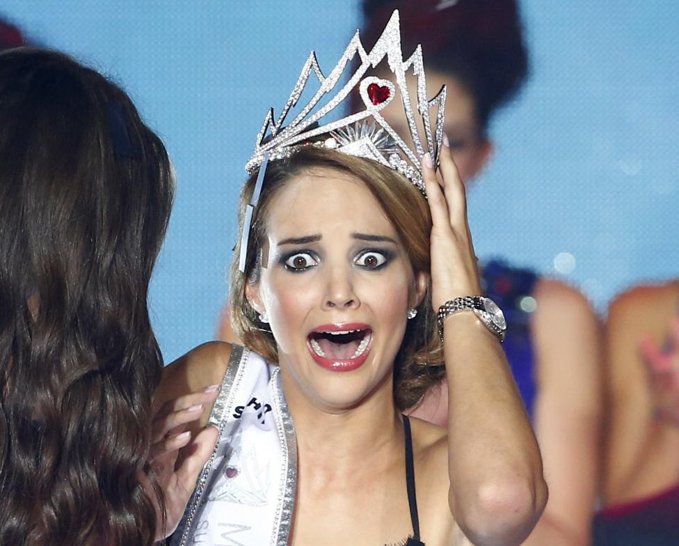 Miss Switzerland 2014 Guarino reacts after she won the Miss Switzerland beauty pageant on the Federal Square in Bern