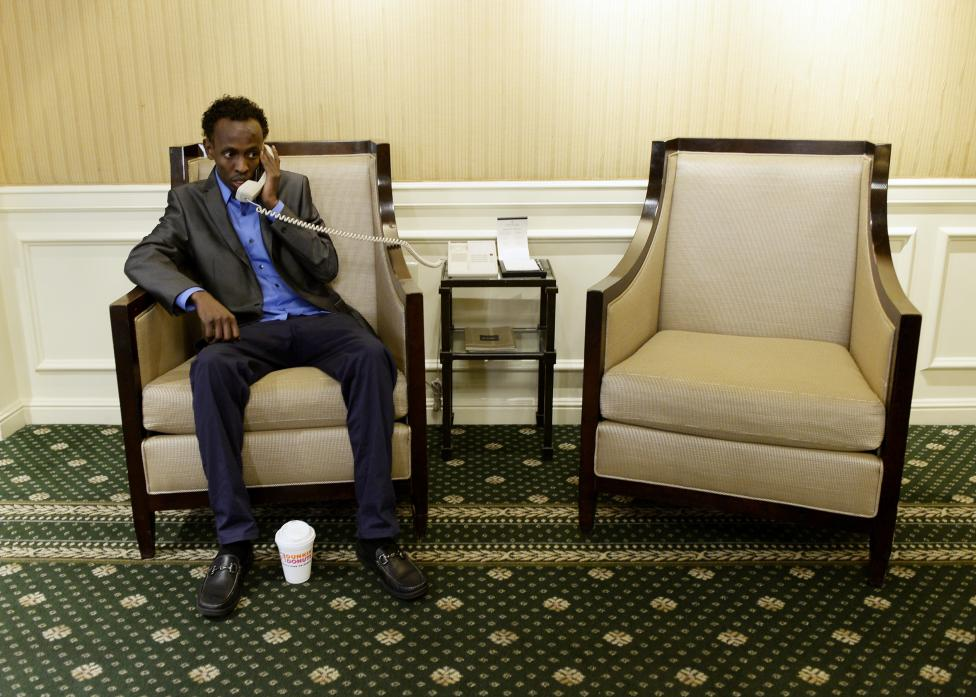 "Barkhad Abdi from film ""Captain Phillips"", conducts phone interview after being nominated for Best Supporting Actor by Academy of Motion Pictures and Sciences in Los Angele"