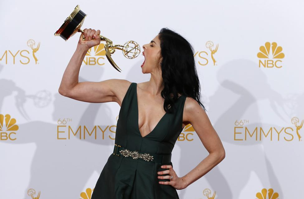 Sarah Silverman poses with her Outstanding Writing for a Variety Special award at the 66th Primetime Emmy Awards in Los Angeles