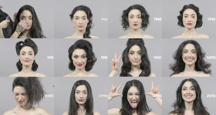 100 Years Of Changing Beauty Makeup And Hairstyles In 1 Minute