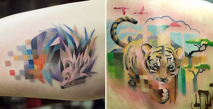 glitch animal tattoos by lesha lauz  13