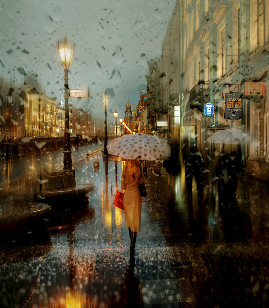 rain street photography glass-raindrops oil-paintings eduard-gordeev 1
