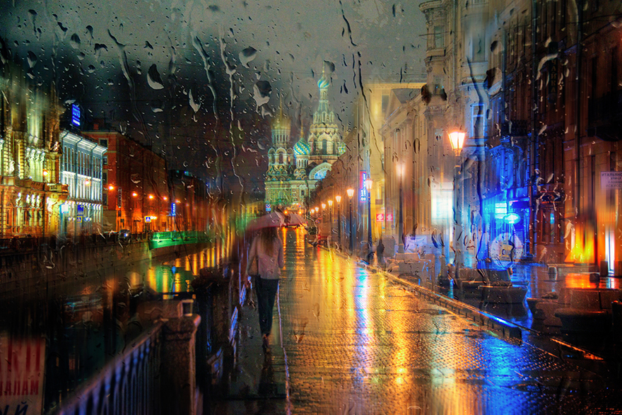 rain street photography glass-raindrops oil-paintings eduard-gordeev 10