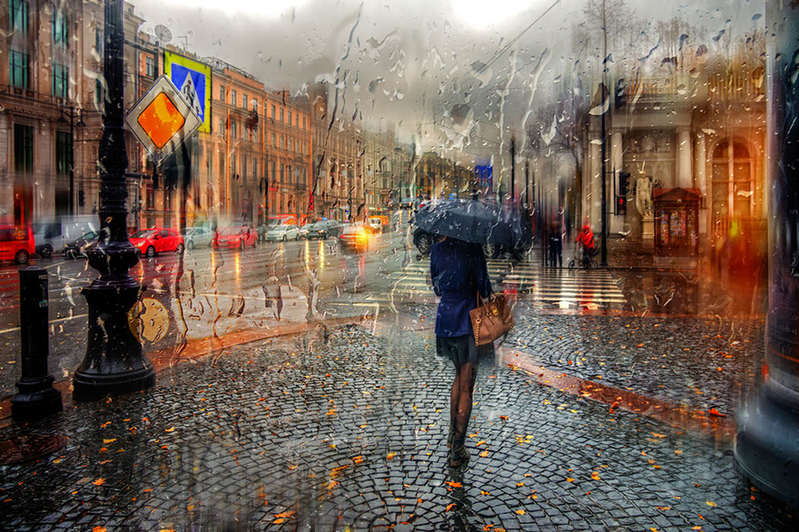 rain street photography glass-raindrops oil-paintings eduard-gordeev 2