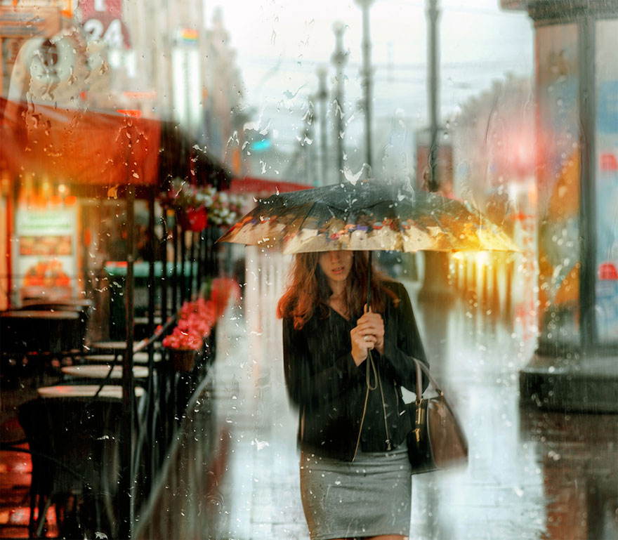 rain street photography glass-raindrops oil-paintings eduard-gordeev 3