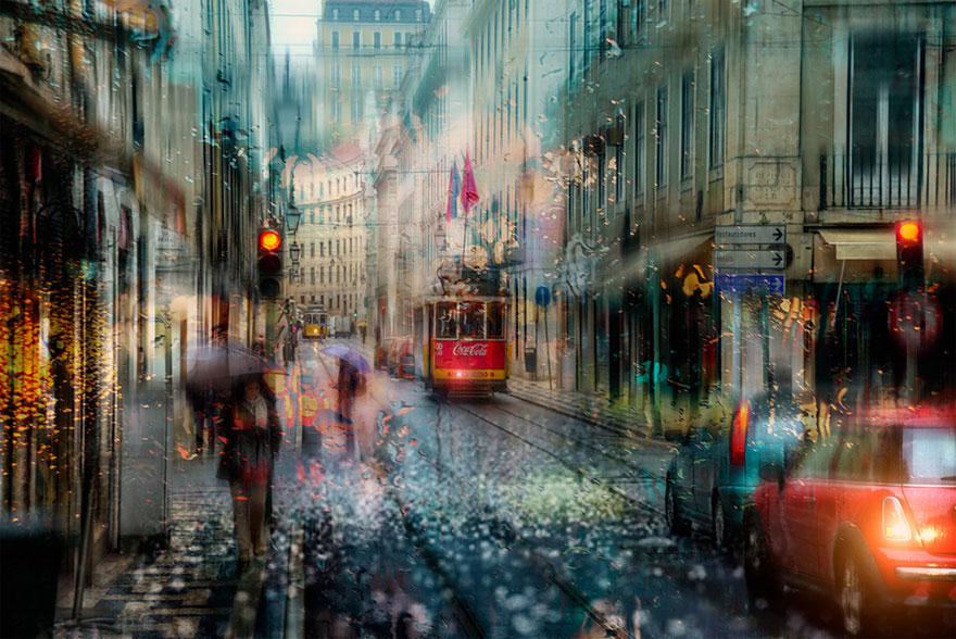 rain street photography glass-raindrops oil-paintings eduard-gordeev 4