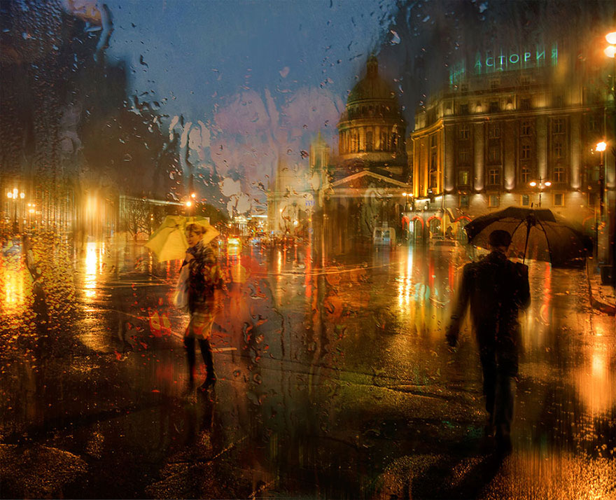 rain street photography glass-raindrops oil-paintings eduard-gordeev 5