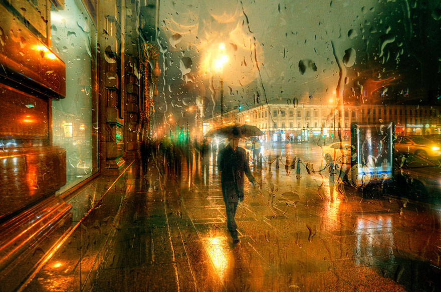 rain street photography glass-raindrops oil-paintings eduard-gordeev 6