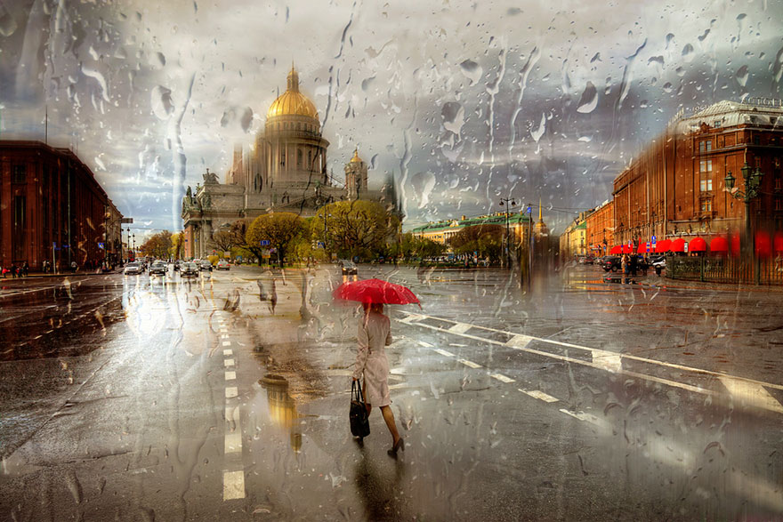 rain street photography glass-raindrops oil-paintings eduard-gordeev 7