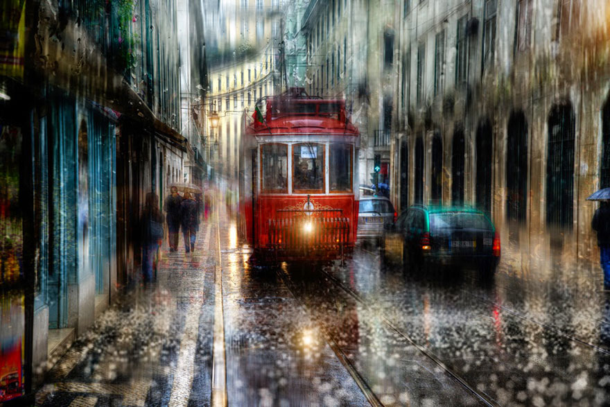 rain street photography glass-raindrops oil-paintings eduard-gordeev 8