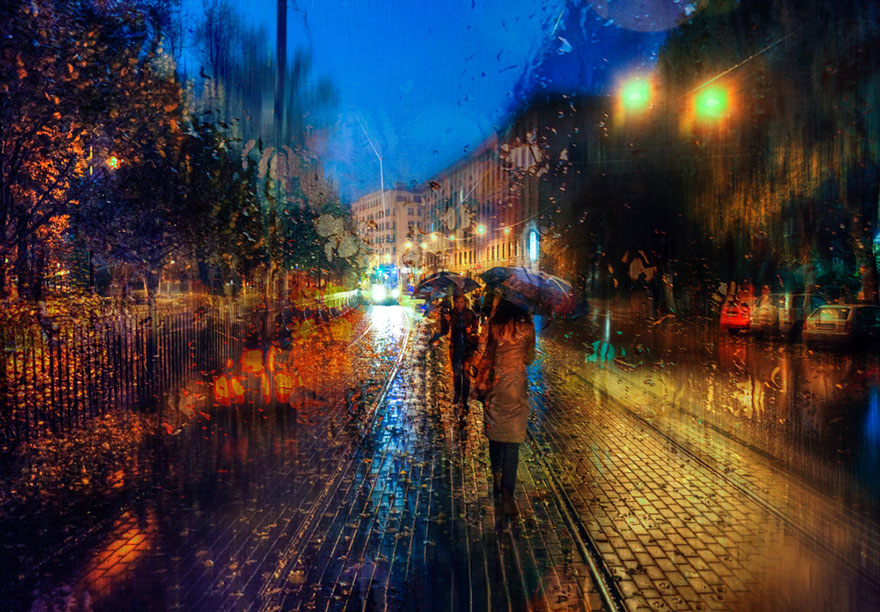 rain street photography glass-raindrops oil-paintings eduard-gordeev 9