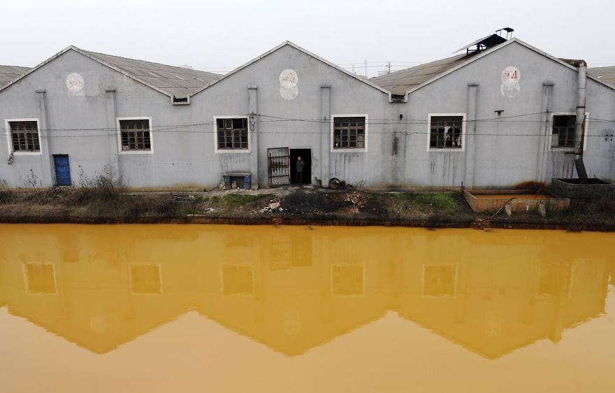 Heavily polluted river in Jiaxing, Zhejiang