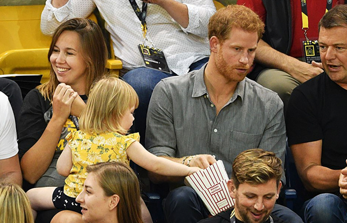 toddler steals popcorn prince harry