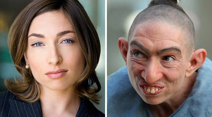 20 Incredible Pics Of Actors Before And After Applying Movie Makeup