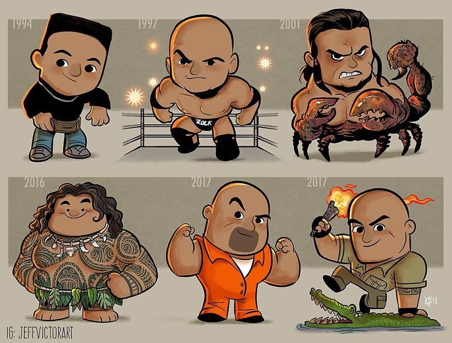 Dwayne The Rock Johnson Evolution Of Pop Culture Icons Over The Years