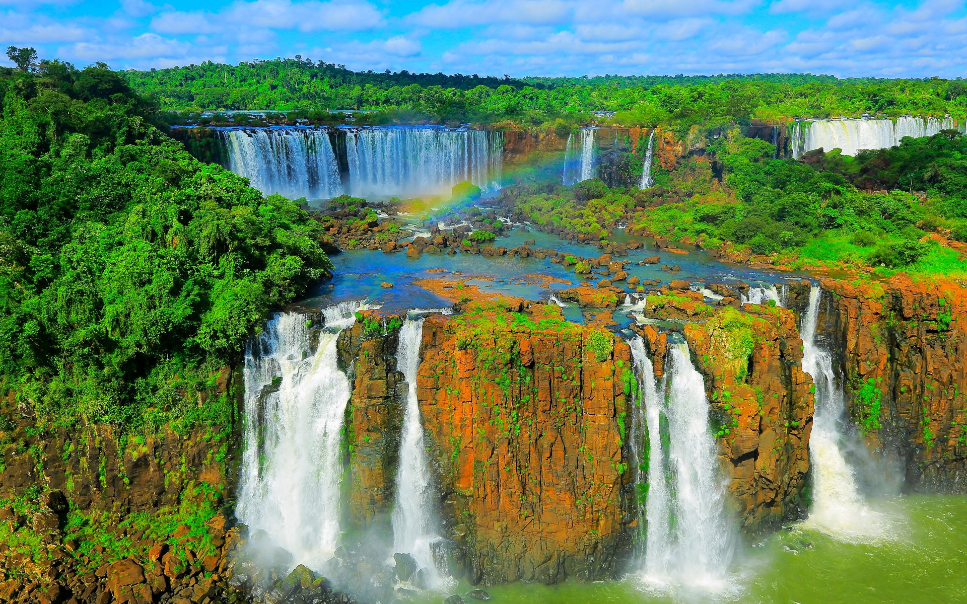 Aerial view of Iguazu Falls in Iguacu National Park