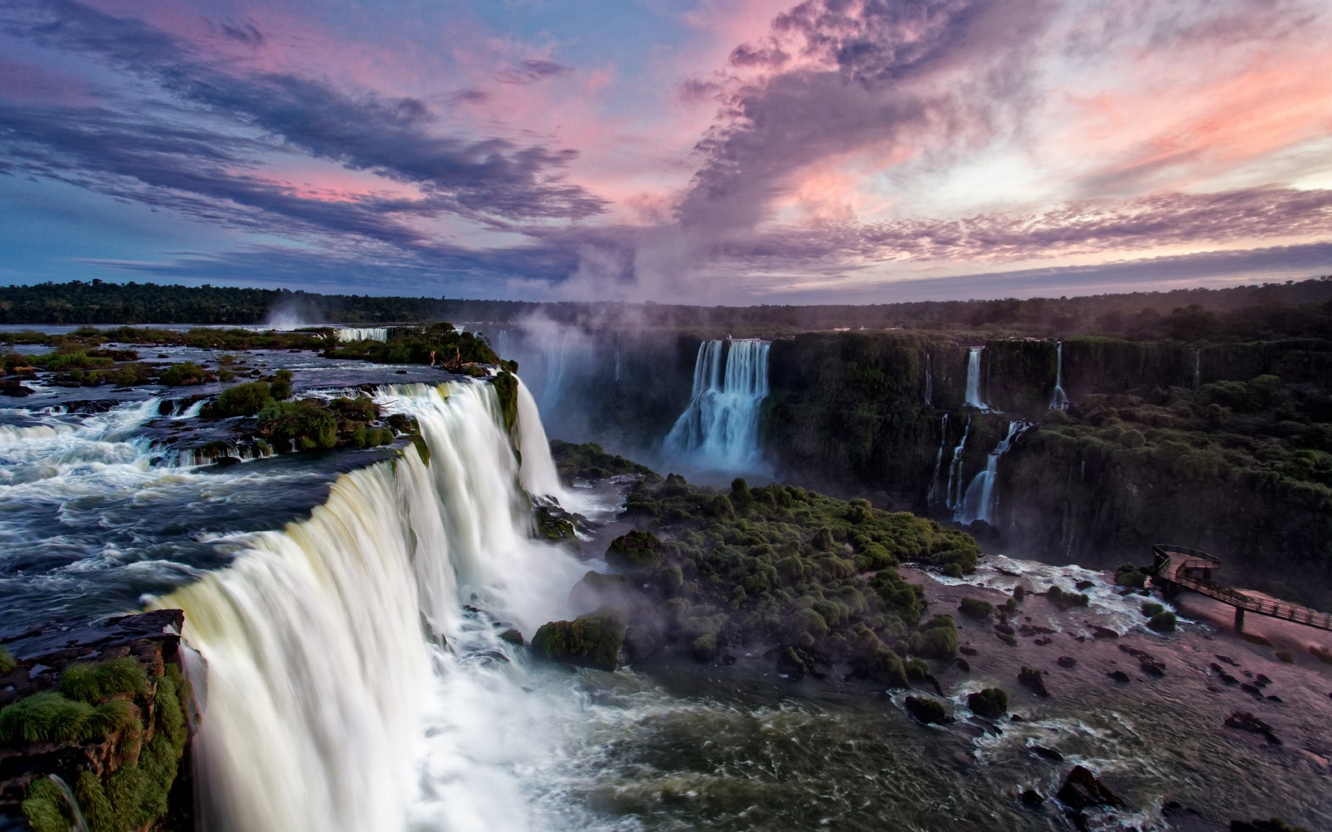 Dusk over Iguacu Falls in Brazil Wallpaper