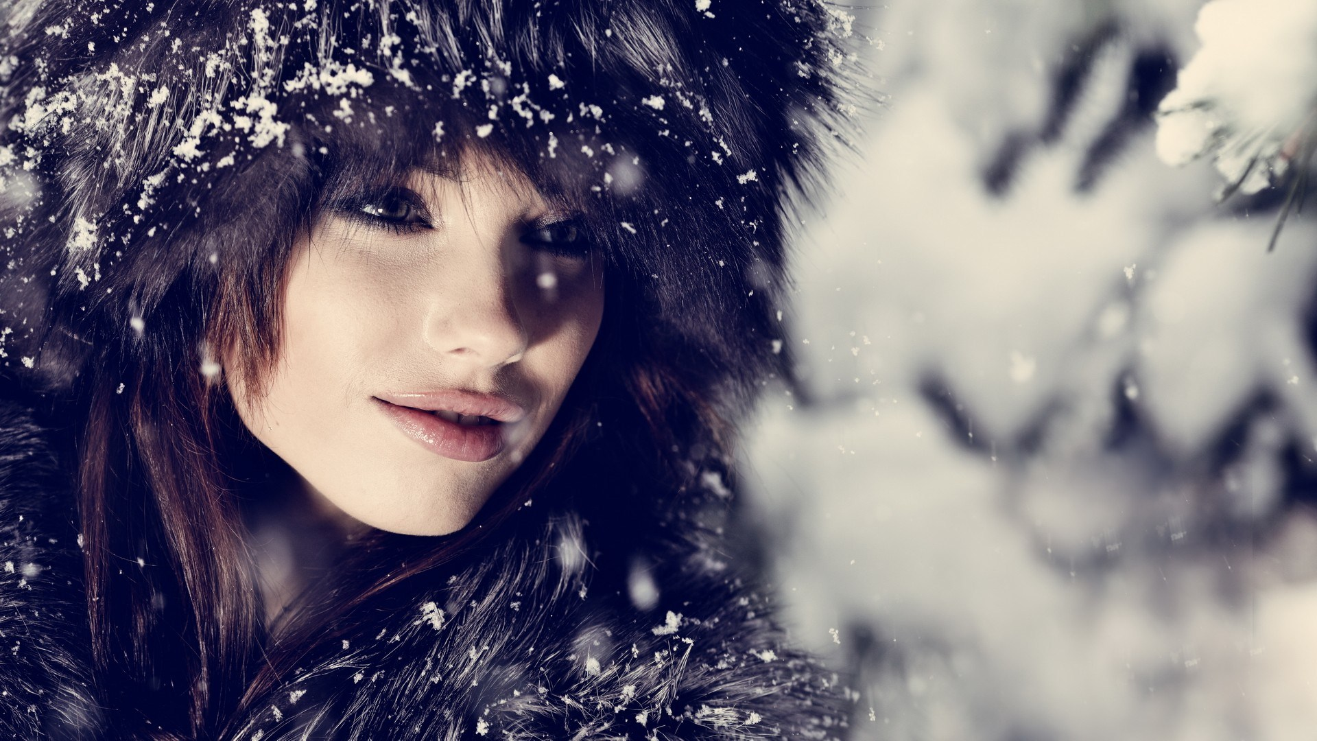 Girl in Snow Desktop Wallpaper HD Download