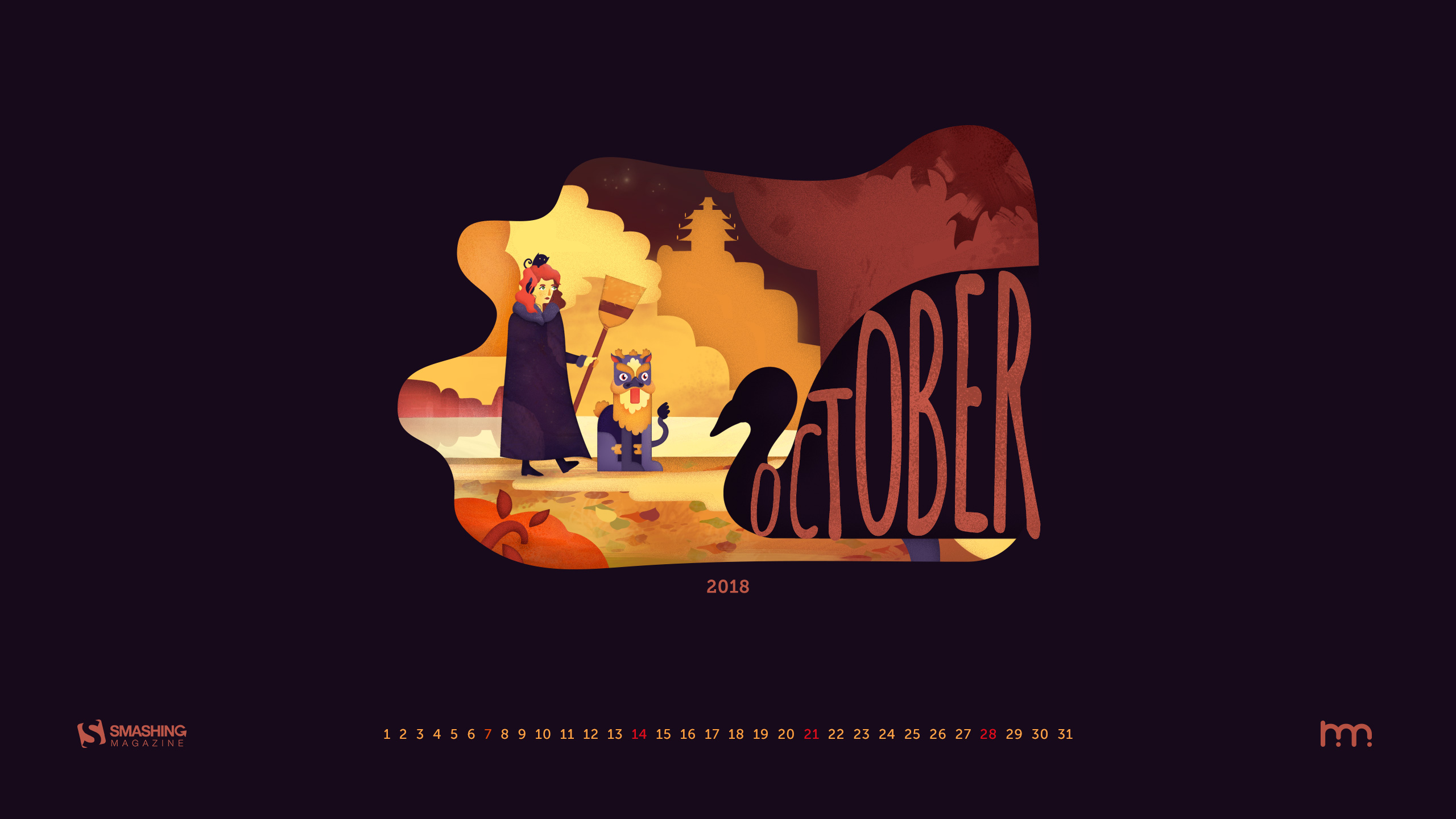 Strange October Journey Calendars Wallpaper 2018