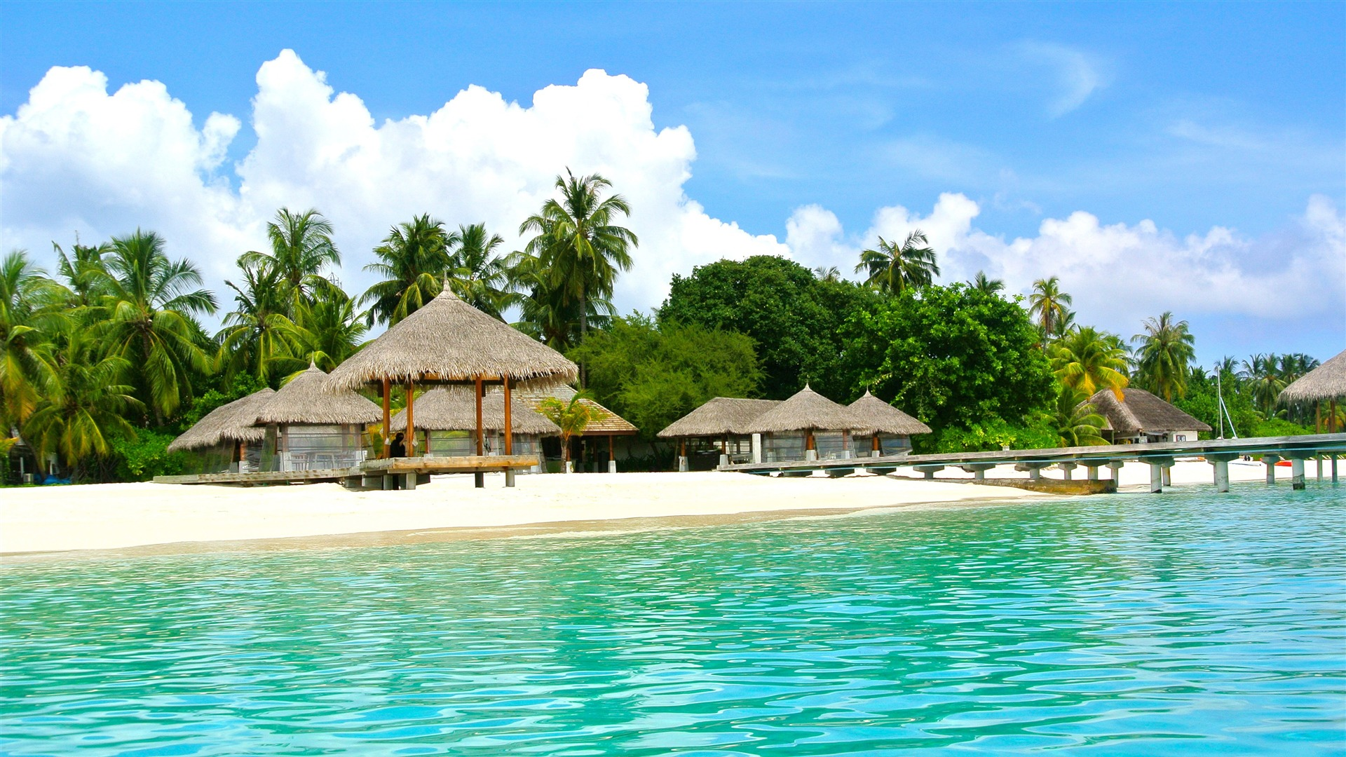 Tropical Ocean Resort Blue Sky Wallpaper 1920x1080