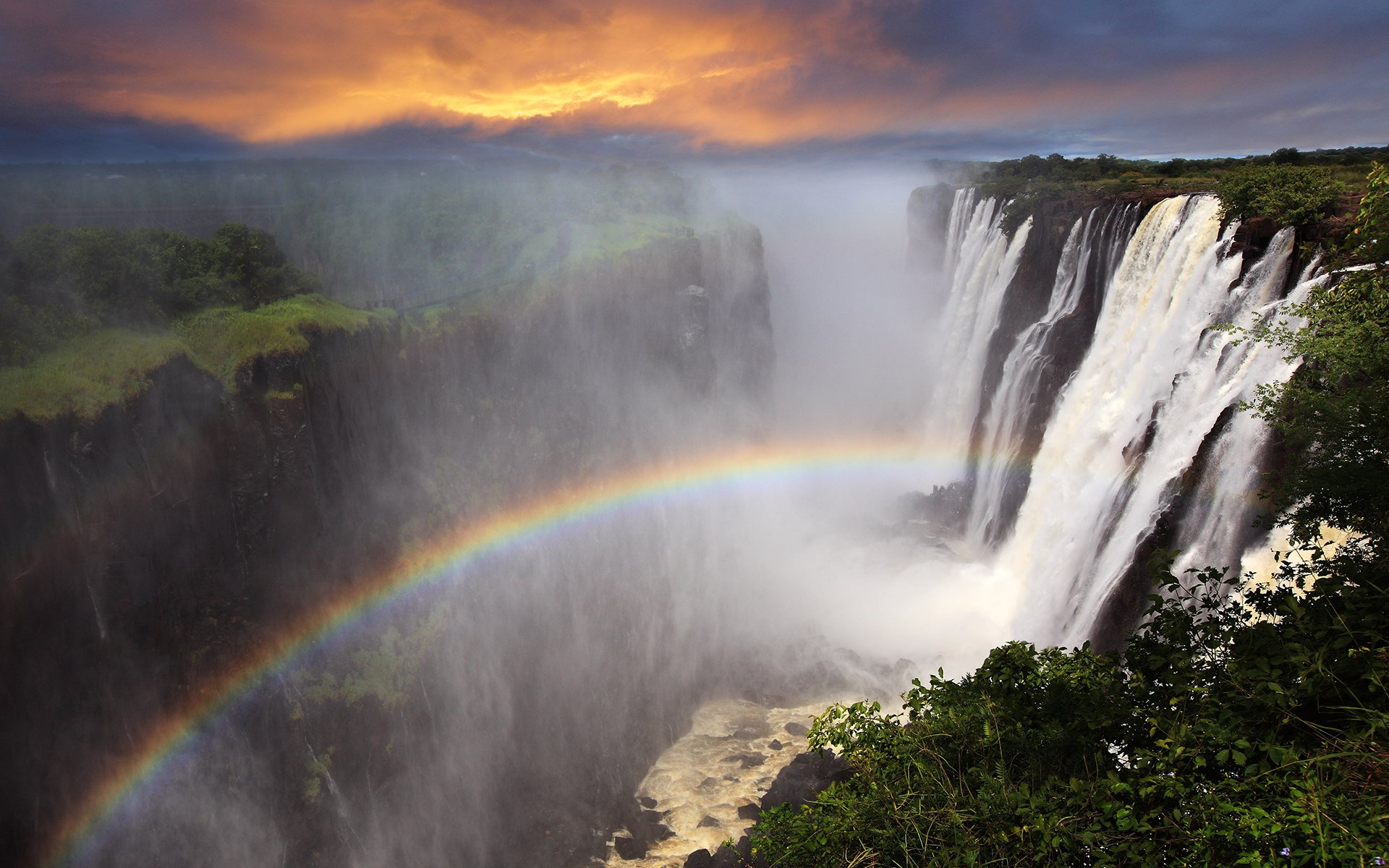 Victoria Falls with Rainbow in Zambia