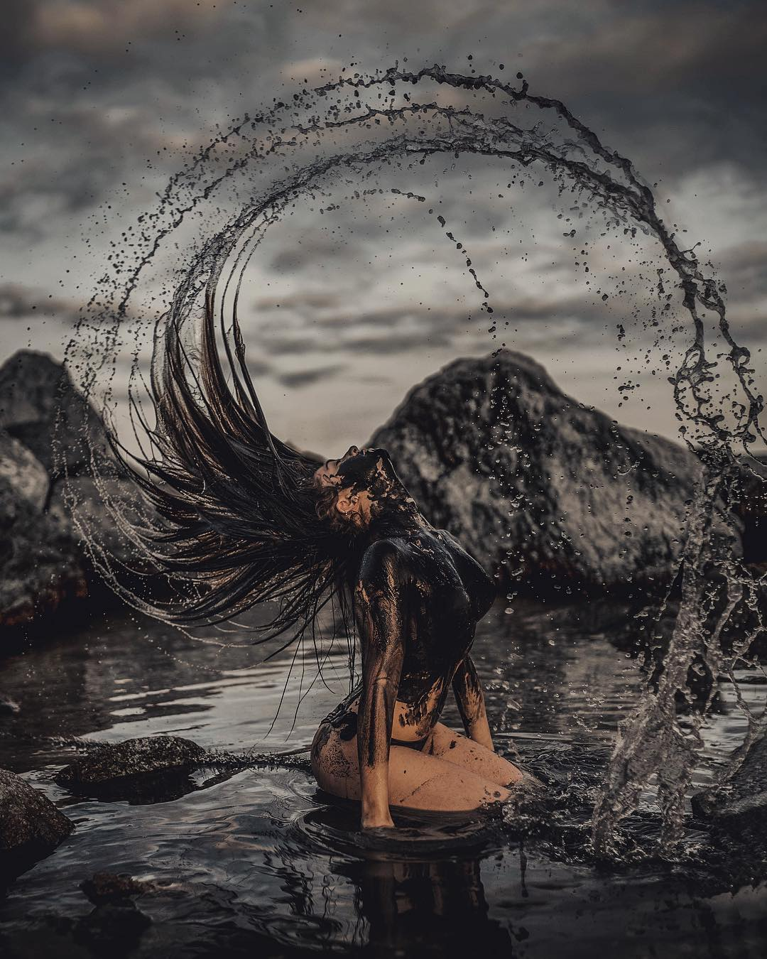 Dramatic Fantasy Portrait Photography Swirling Beauty of the Ocean