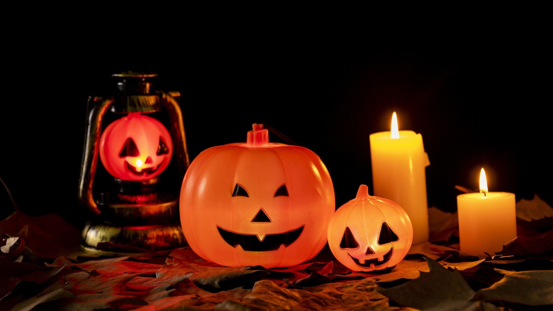 Halloween Pumpkin Lantern Photo Background Size 1920x1080