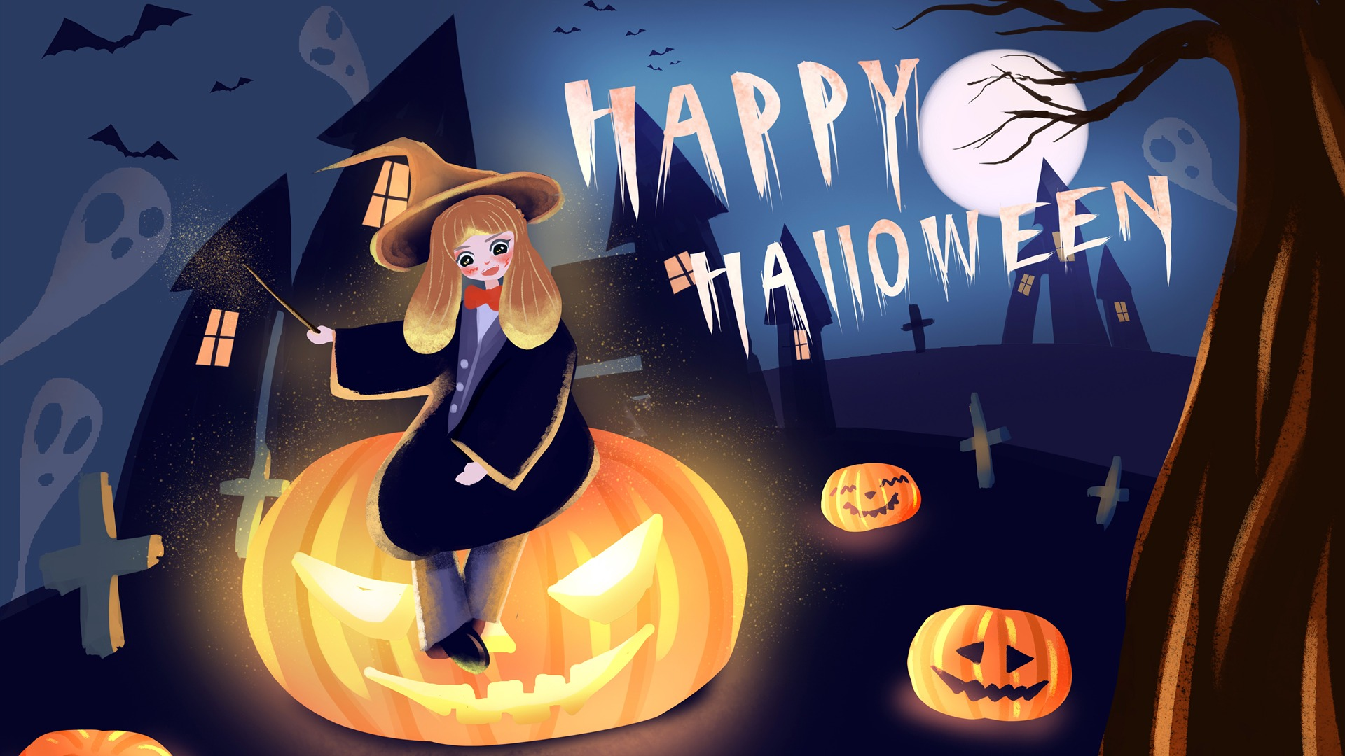 Happy Halloween Girl Pumpkin illustration Wallpaper HD 1920x1080